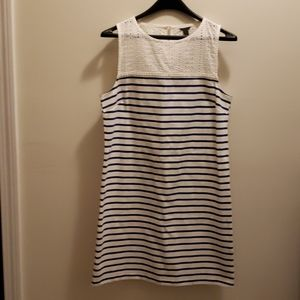 J. Crew Blue and White Striped Cotton Tank Dress